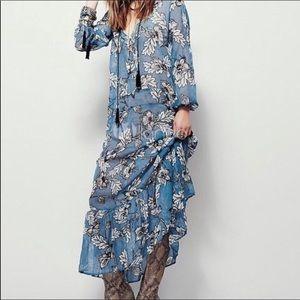 Defect Item For Love and Lemons Blue Silk Dress